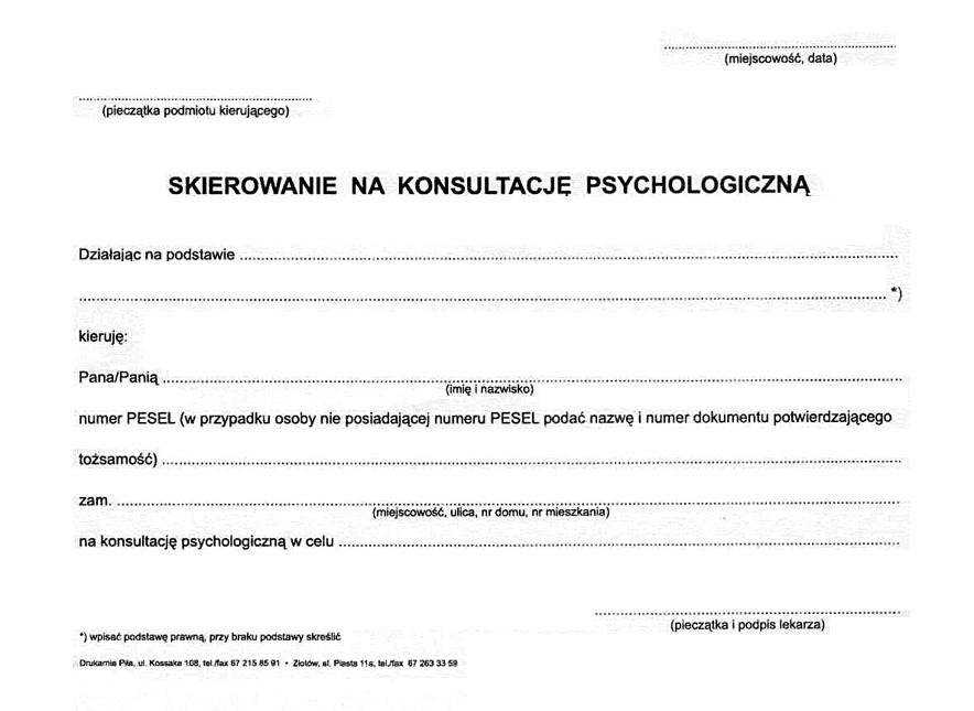 Skierowanie na badania psychotechniczne